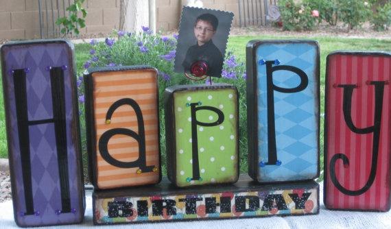 Happy Birthday Wood Blocks  Happy Birthday by HandfulofGrace, $18.00