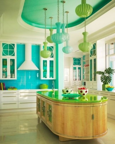 if @Party for a Cause was in a position to get a new kitchen - and needed the upgrade, rather than forced it to happen 'just because she was bored' she'd definitely look to an #aqua backsplash to offset her #red appliances!