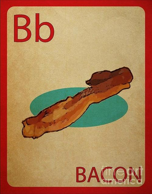 Bacon Vintage Style Flashcard Print By Mynameisjz Jz $8
