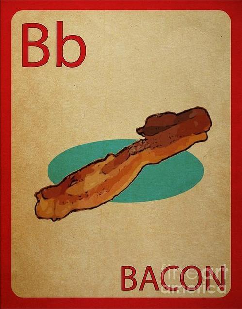 Bacon Vintage Style Flashcard Print By Mynameisjz Jz $8