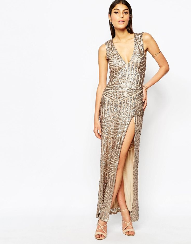 Image 2 ofClub L Plunge Open Back Sequin Maxi Dress With Thigh Split