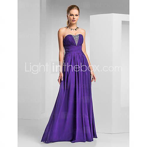 [JPY ¥ 9,029] A-line Sweetheart Floor-length Chiffon Evening/Prom Dress