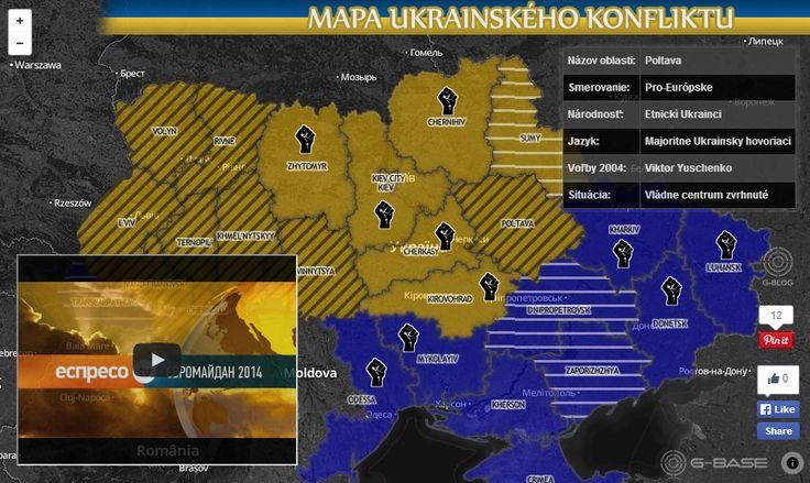 Mapa Ukrainského konfliktu..