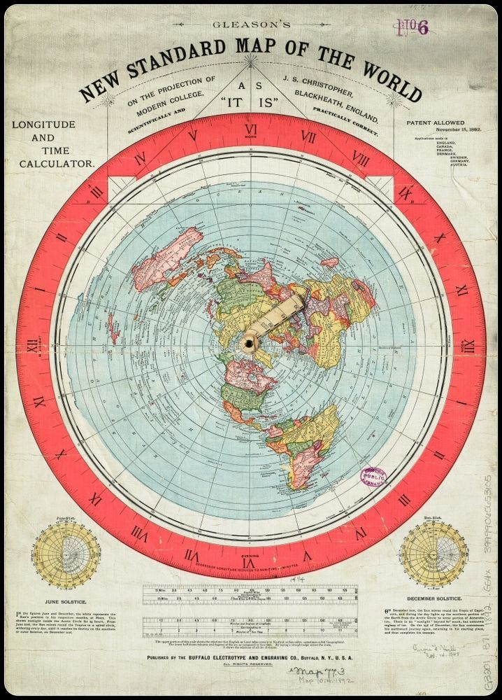 US $39.00 Gleason's New Standard Map of the World : circa 1892 [Flat Earth]