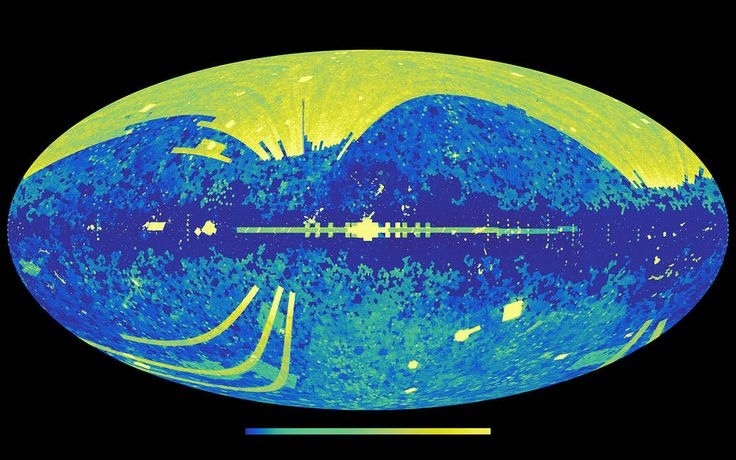 This graphic shows all the cosmic light sources in the sky that are included in the NASA/IPAC Extragalactic Database (NED), an online repository containing information on over 100 million galaxies. The colors represent the density of sources recorded in the full database, ranging as high as 3.6 million sources per square degree of sky (light yellow).