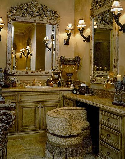 I love these colors, maybe for my bedroom!!! - - - - - Elegant Master Bath mediterranean bathroom
