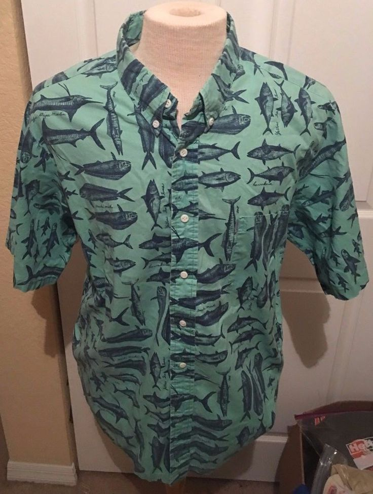 Kahala Hawaiian Islands Aloha Hawiian Shirt Men XL Fishing Fish Marlin Tuna Mahi #Kahala #Hawaiian