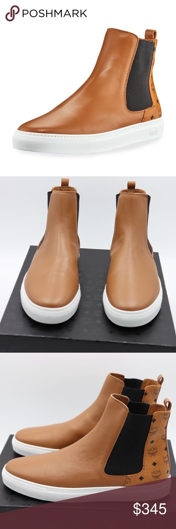 NIB MCM Mens Brown Visetos Leather Chelsea Boot NIB MCM Visetos Leather Chelsea Boot Brand New in original MCM box, 100% Guaranteed Authentic!! MFSRP: $495.00 +tax Color: Brown  Dash around town in the stylish and riveting Visetos Combi Chelsea Boot from MCM Leather with signature Visetos monogram coated canvas Round toe Pull-on style Elastic side insets Looped backstay Smooth leather lining Contrast rubber outsole Made in Italy MCM Shoes Boots