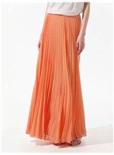 Coral Chiffon Pleated Maxi Skirt - Code Women