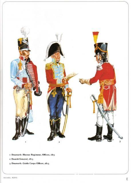 1-Denmark,Hussar Regiment Officer 1813 2-Danish General 1813 3-Denmark Guide Corps Officer 1813