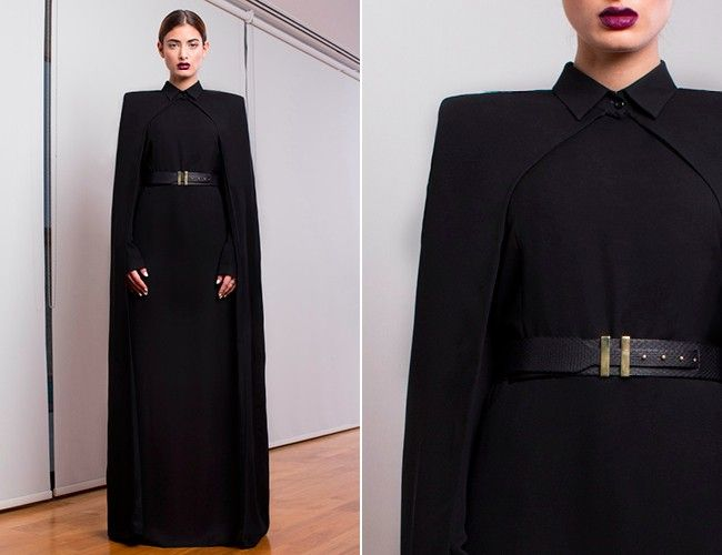 A-mazingly smart, Modern/stylish Abaya by Faiza Bouguessa. Love the shawl over the Abaya, making it a bit more Halal. #Abaya #Fashion #Muslim #FashionDesign #FaizeBouguessa