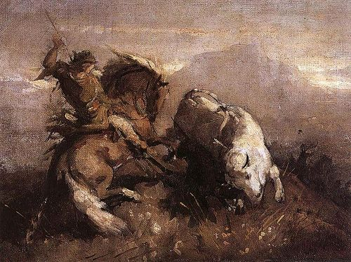 Grigorescu, Nicolae (1838-1907) - 1863-64 Dragos Fighting the Bison (National Art Museum of Romania, Bucharest)