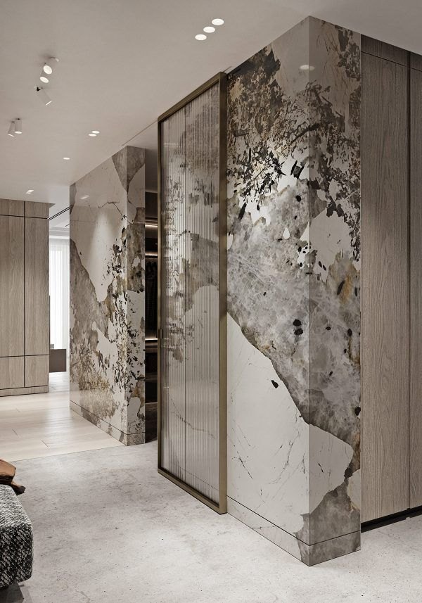 Magnificent Modern Marble Interior With Metallic Accents Marble