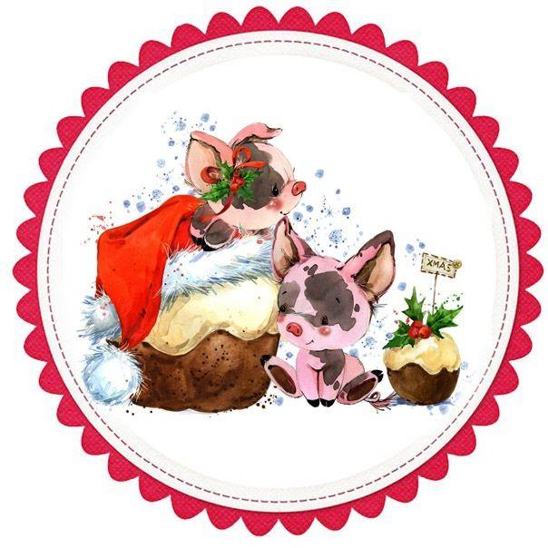 Скрапбукинг открытка на новый год хрюшка