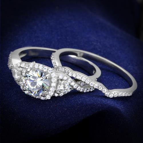 A Perfect 1.7CT Round Cut Halo Russian Lab Diamond Wedding Bridal Band Ring