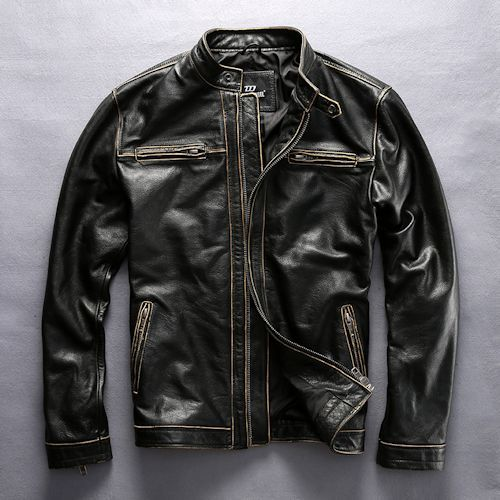 Retro Vintage Black Cowhide Leather Motorcycle Bomber Jackets for Men SKU-116044