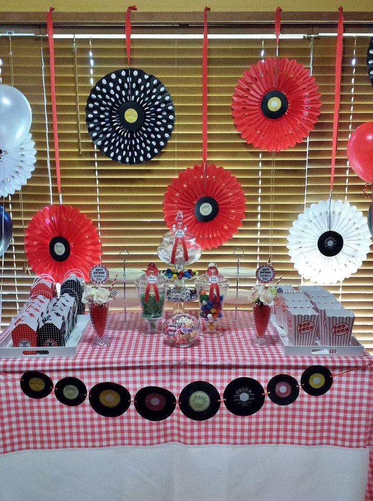 1950's Rock And Roll Themed Candy Buffet. Featuring Paper