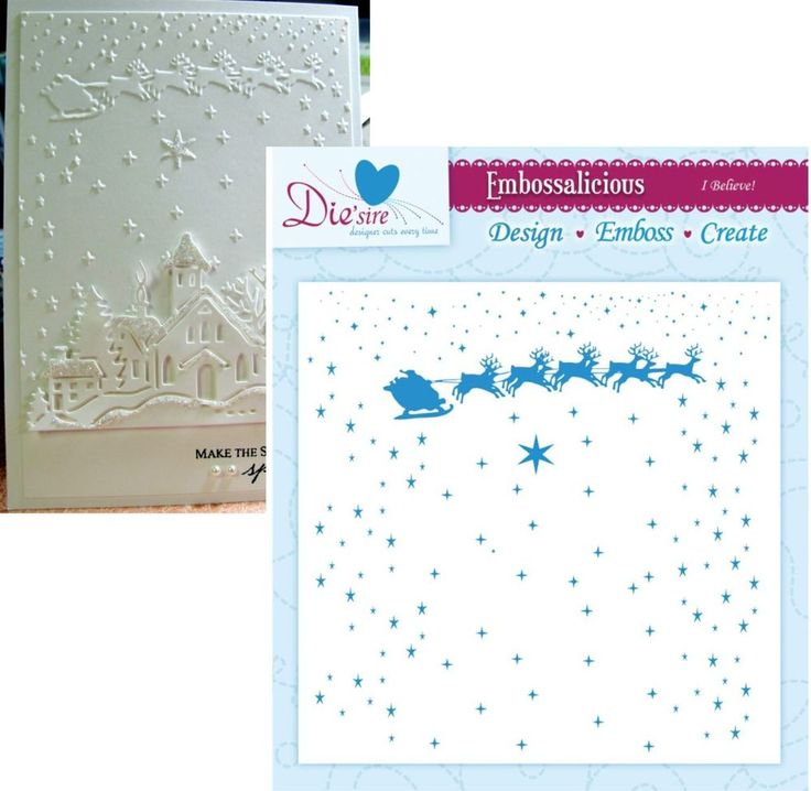 I BELIEVE embossing folder By CRAFTER'S COMPANION 6X6 Christmas santa sleigh  #crafterscompanion