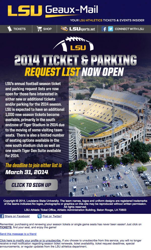 LSU - Football ticket and parking request list
