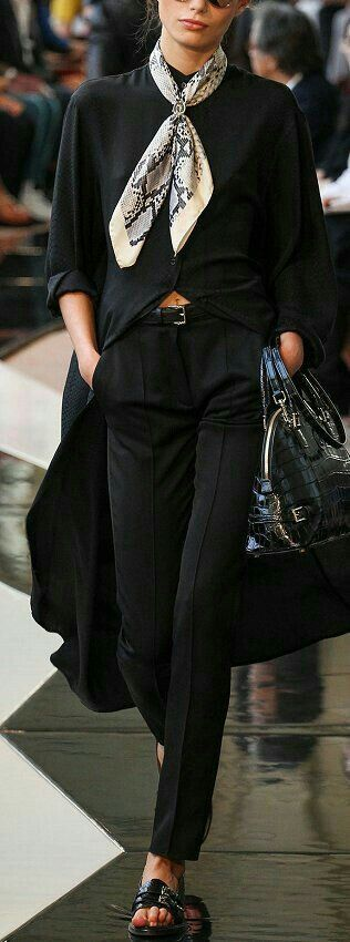 black on black with scarf details.