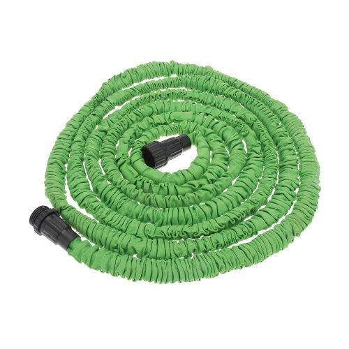 25FT Expandable Ultralight Garden Hose Fittings Set Flexible Water Pipe + Faucet Connector + Fast Connector + Valve + Multi-functional Spray Nozzle Green