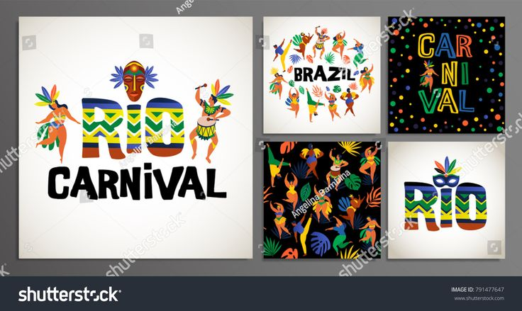 Brazil carnival. Vector for carnival concept and other users. Template Set for Greeting Scrapbook, congratulations, invitations, banner, stickers, postcards. Vector illustration.