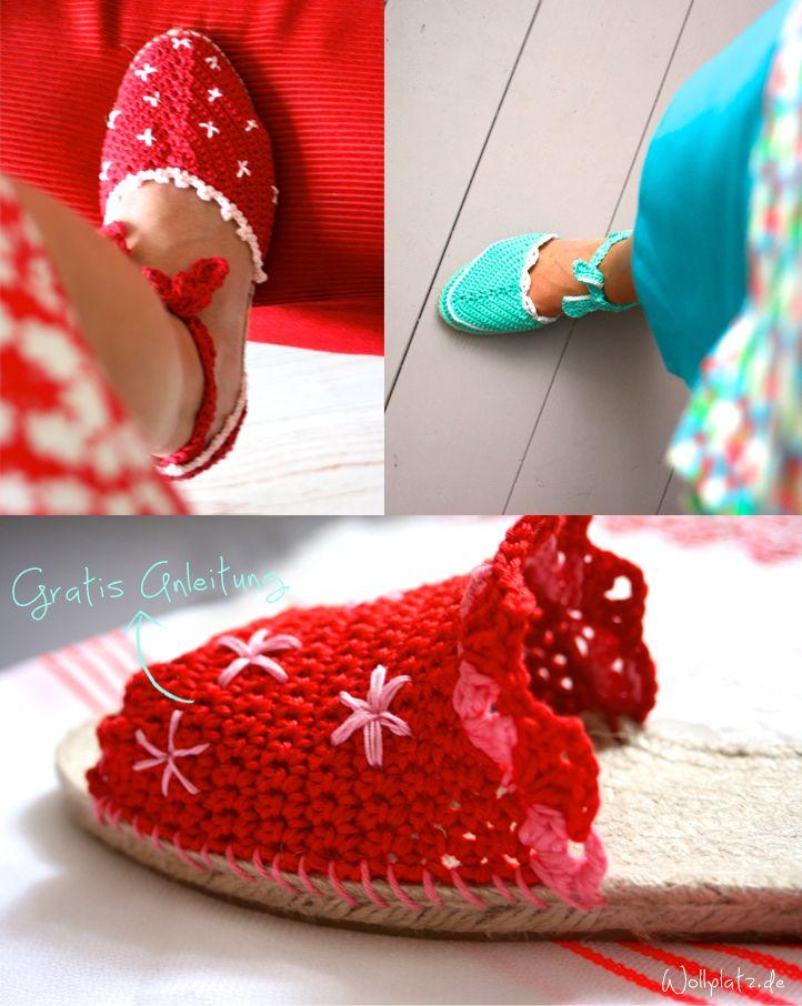 Können Sie von den Espadrilles auch nicht genug von haben? Saskia Laan, eine begeisterte Häklerin, hat für Wollplatz.de drei Modelle von diesen spanischen Schuhen entworfen.