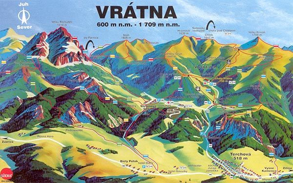 Mapa leto a turistika Malá Fatra-Vrátna