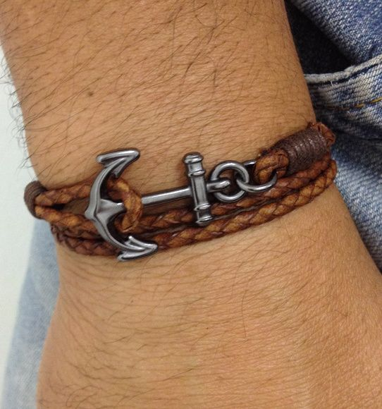 Mens bracelets anchor style navy