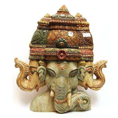 Hand-carved and painted 3 Headed Ganesh