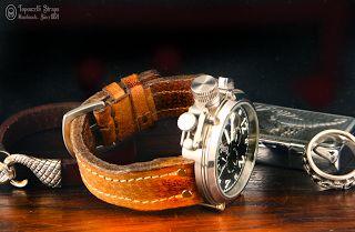 Curele de ceas, din piele, handmade. Topouzelli Straps.: Curea de ceas, din seria Pilot, handmade, T 855