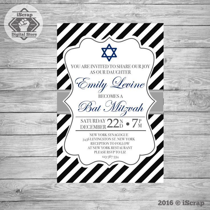 Bar Mitzvah invitación imprimible azul Bar Mitzvah invitación bat mitzvá invitación niño invitación invitar elegante bar mitzvah COD37 de iscrapdesign en Etsy
