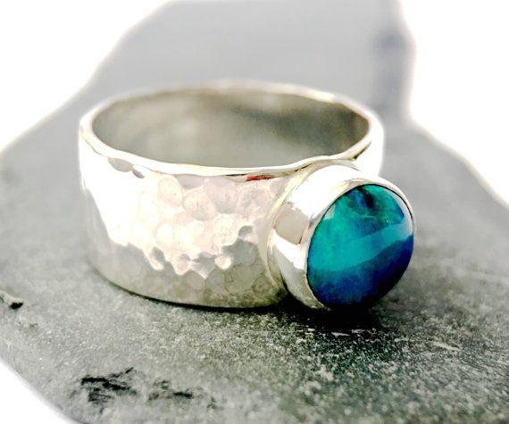 Solid Lightning Ridge Opal Ring.Beautiful Hand Cut & Hand