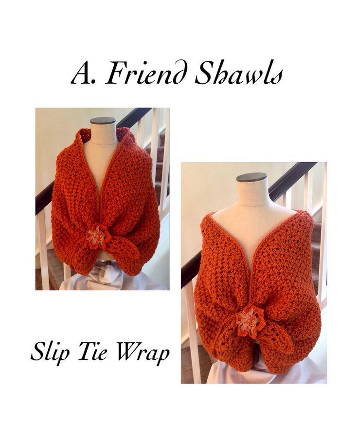 Slip tie front wrap shawl, crochet, soft chunky yarn