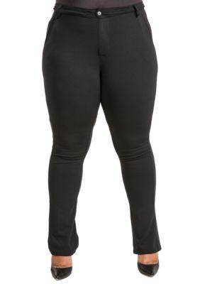 Poetic Justice Women's Plus Size Boot Cut Ponte Pants - Black - 18W