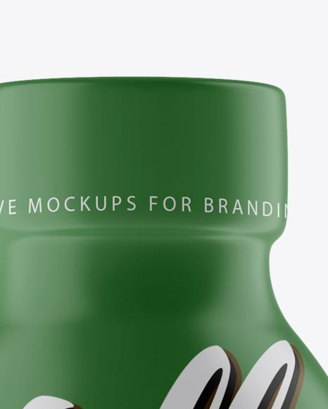Clear PET Bottle In Matte Shrink Sleeve Mockup - Front View (Close-Up)