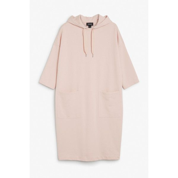 Oversize hoodie dress - Naughty apricot - Dresses - Monki GB (541.650 IDR) ❤ liked on Polyvore featuring dresses, monki dress, short-sleeve dresses, pocket dresses, short sleeve dress and monki