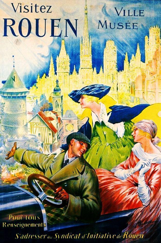 Visitez Rouen Ville Musee France French Vintage Travel Advertisement Poster #Vintage