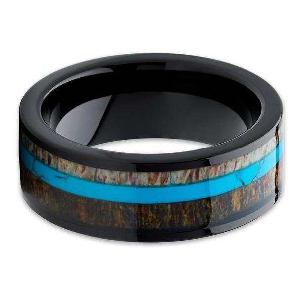 Deer Antler Wedding Band - Black Ring - Turquoise Wedding Ring - Antler Ring