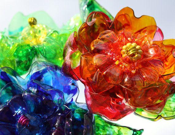Recycled Garden Stakes, 3 Unique Indoor Outdoor, Flower Art Decor, colorful yard, blue, green, orange yellow Suncatcher, Sun Catcher glass