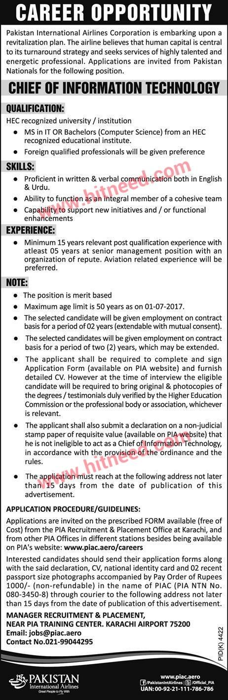 PIA - Pakistan International Airlines Corporation, Chief of Information Technology, Jobs May 2017 Last Date: 04-06-2017   #Chief of Information Technology #IT jobs #PIA Jobs