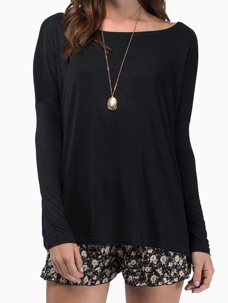 Black Batwing Sleeve T-shirt - Fashion Clothing, Latest Street Fashion At Abaday.com