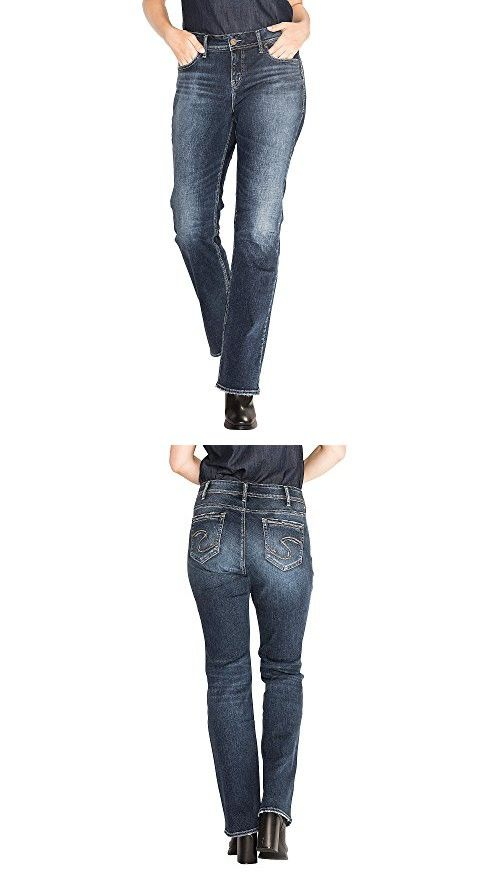 e9168e15 Silver Jeans Women's Plus Size Elyse Relaxed Fit Mid Rise Slim Bootcut Jeans,  Dark Heritage Wash, 20 X 31