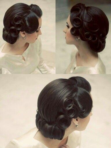 Vintage wedding hairstyle, vintage updo, vintage curls