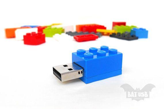 BAT™ 8GB USB flash drive - Memory Stick - Lego® original usb Brick - Lego® 2x3 Brick - Lego® usb in original piece - Bricks all colors usb by Think4HandmadeArt