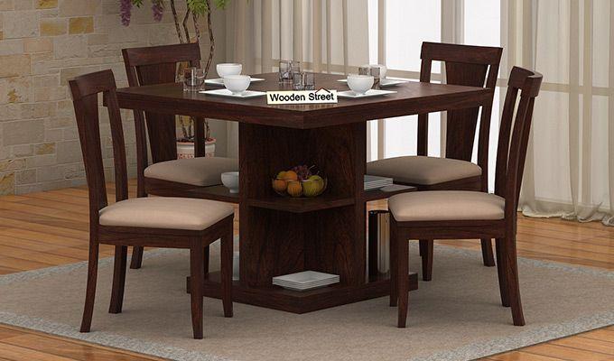 Ralph 4 Seater Dining Set With Storage Walnut Finish