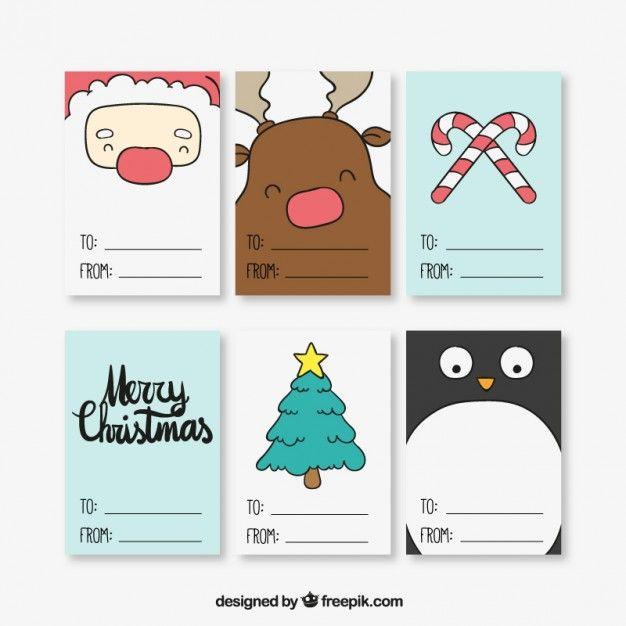 Billets de Noël collection Vecteur gratuit