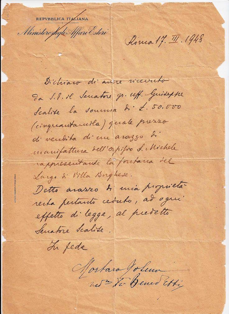 Ricevuta vendita nel 1948 al senatore della repubblica italiana Scalise (2)
