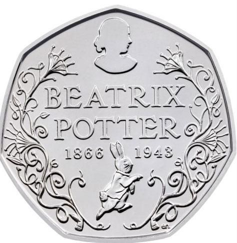 Beatrix Potter is to feature on a new 50p coin, marking 150 years since her birth