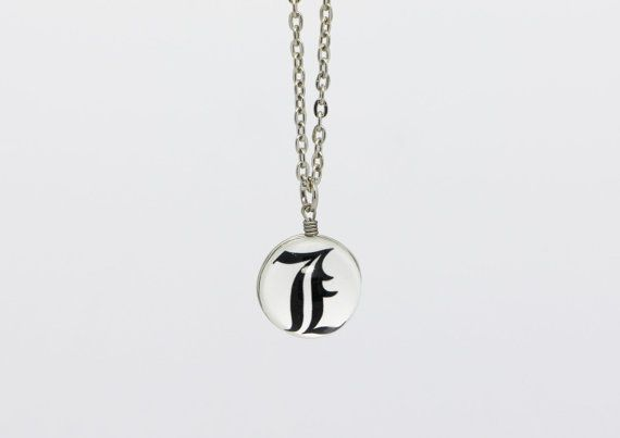 Death Note L Symbol Necklace Death Note by boysenberryaccessory